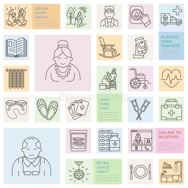 Modern vectorlijnpictogram van hogere en bejaarde zorg Verpleeghuiselementen - oude mensen, rolstoel, vrije tijd, de knoop van de royalty-vrije illustratie