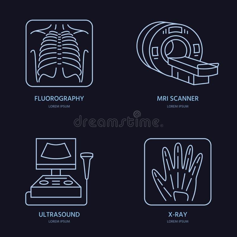 Modern vectorlijnpictogram van röntgenstraal, MRI, ultrasone klank Medisch onderzoek, kliniek lineair embleem Symbool van het ove royalty-vrije illustratie