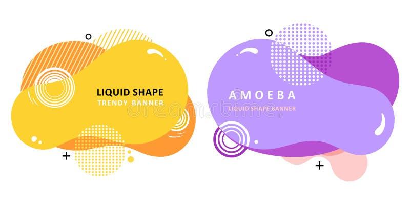 Modern vectormalplaatje Memphis Liquid-vorm Het ontwerp van de moza?ekamoebe royalty-vrije illustratie