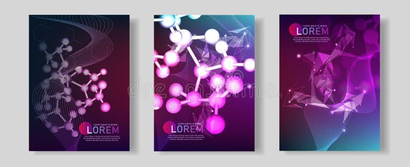 Modern vectormalplaatje voor brochure, pamflet, vlieger, dekking, banner, catalogus, tijdschrift, of jaarverslag DNA-schroef, DNA stock illustratie