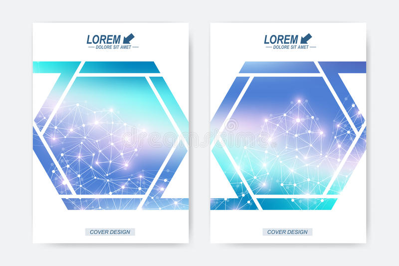 Modern vectormalplaatje voor van de de vliegeradvertentie van het brochurepamflet de dekkingstijdschrift of jaarverslag Geometris royalty-vrije illustratie
