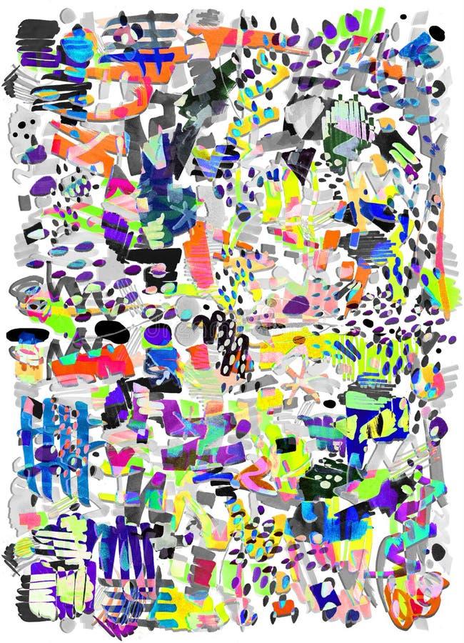 Modern veelkleurig futuristisch pop-artpatroon Het heldere kleur abstracte schilderen in de Neostijl van Memphis stock illustratie