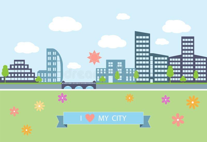 Modern vektorillustration för plan design av stads- vektor illustrationer