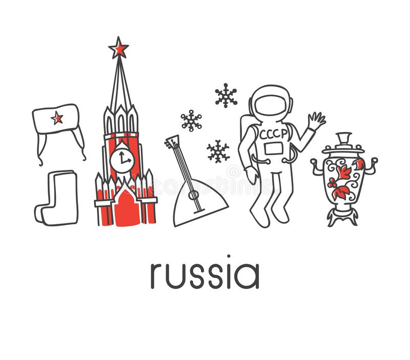 Modern vektorlinje illustration Ryssland med berömda rysssymboler: Spasskaya Kremltorn, sovjetisk kosmonaut, ushankahatt, kängor, stock illustrationer