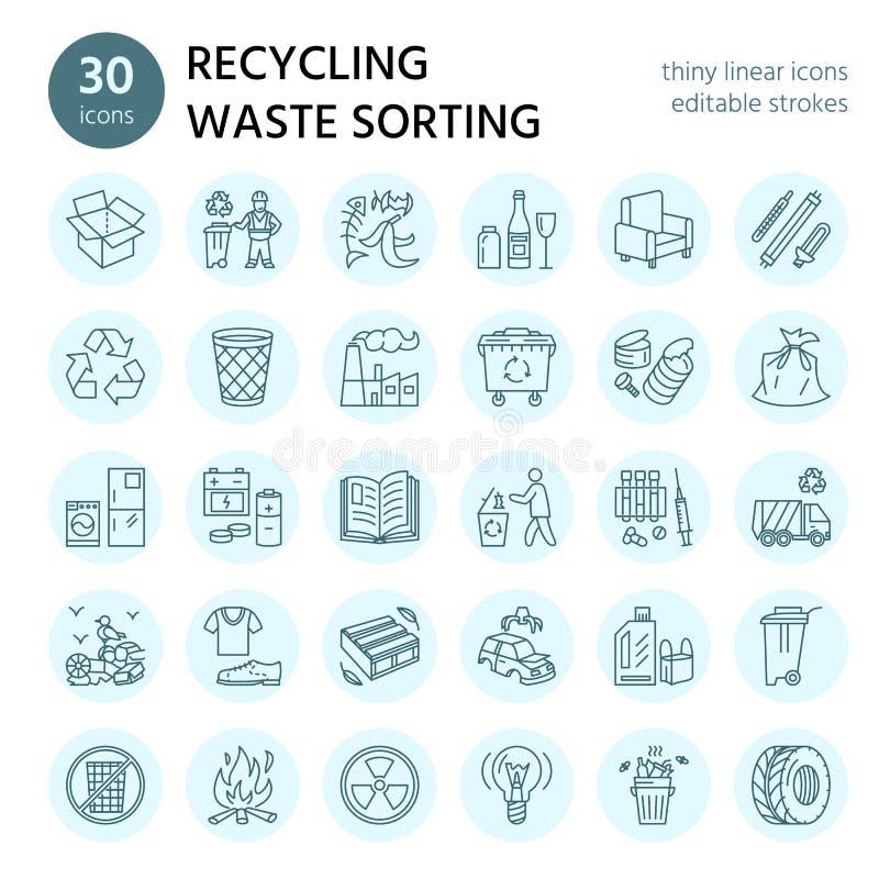 Modern vektorlinje symbol av förlorad sortering, återvinning Avskrädesamling Återanvändbar avfalls - papper, exponeringsglas, pla royaltyfri illustrationer