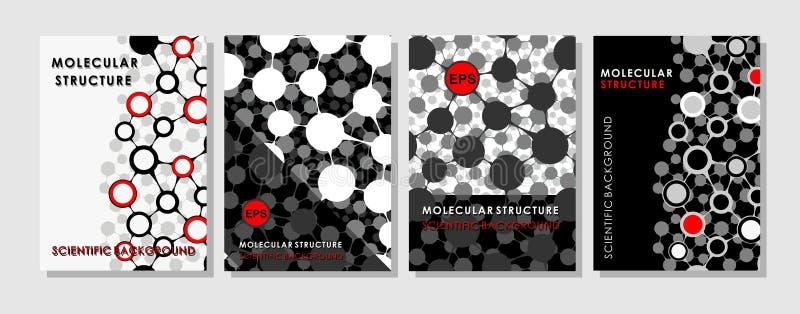 Modern vektormall för broschyr, broschyr, reklamblad, räkning, tidskrift eller årsrapport Molekylärt format för orientering A4 royaltyfri illustrationer