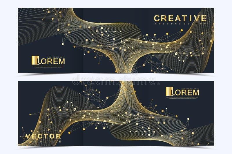 Modern vektormall för den trifold fyrkantiga broschyren, reklamblad, räkning, rapport, katalog, tidskrift Affär vetenskap och royaltyfri illustrationer
