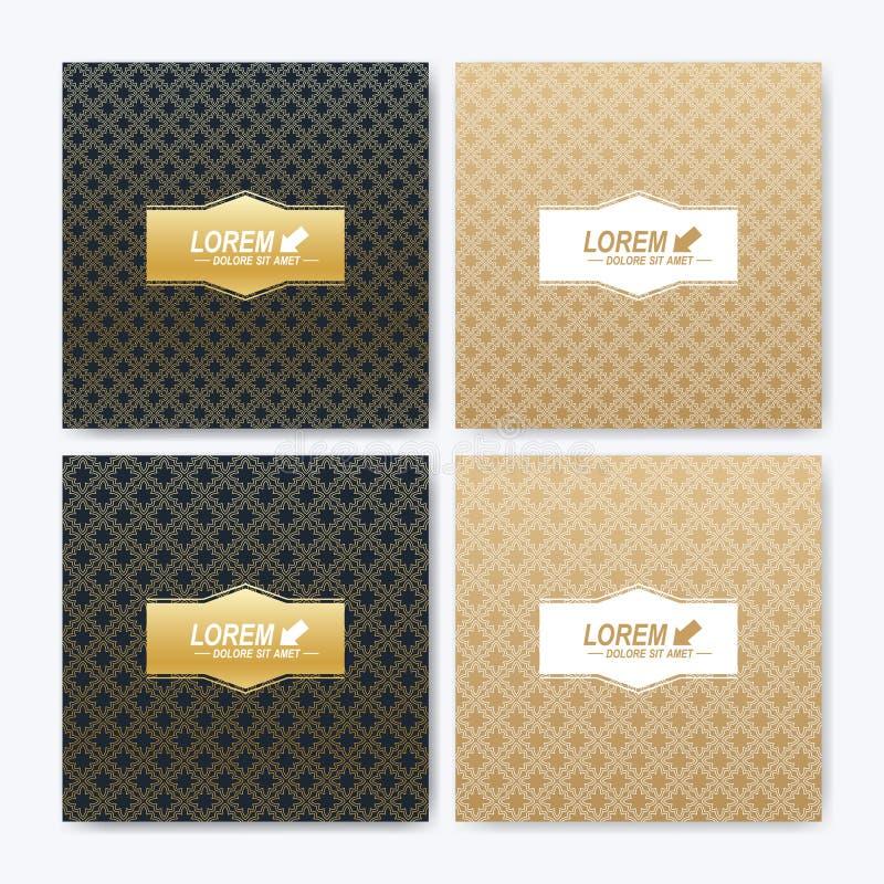Modern vektormall för fyrkantig broschyr, broschyr, reklamblad, räkning, häfte, tidskrift eller årsrapport Abstrakt guld- vektor illustrationer