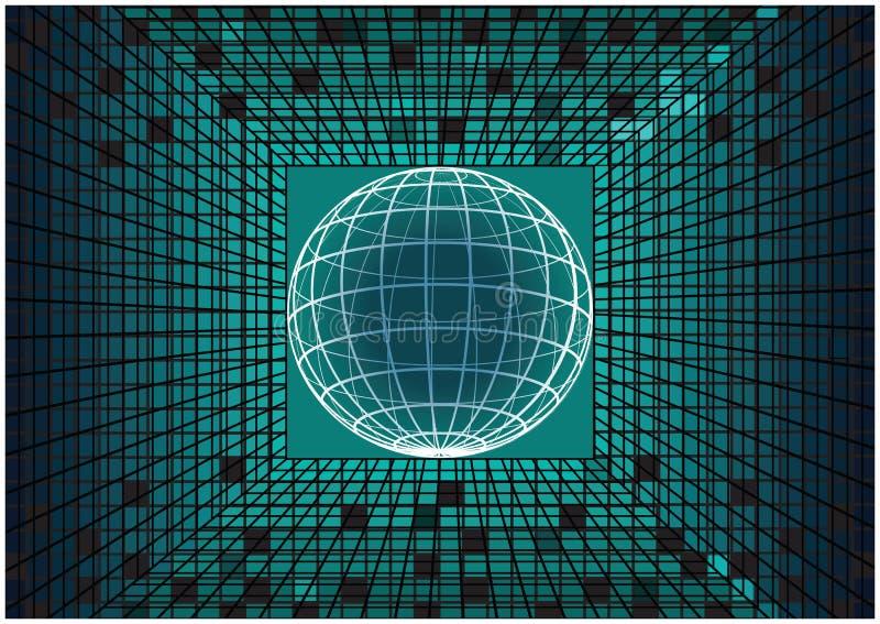 Modern vektormatrisbakgrund med jordklotsymbolen för jord 3D stock illustrationer