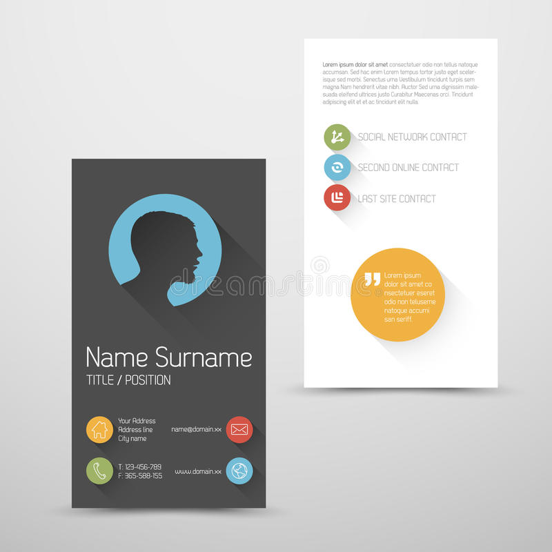 Modern Vertical Business Card Template With Flat User Interface - Portrait business card template