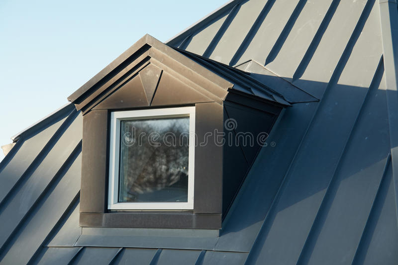 Modern vertical roof windows stock image