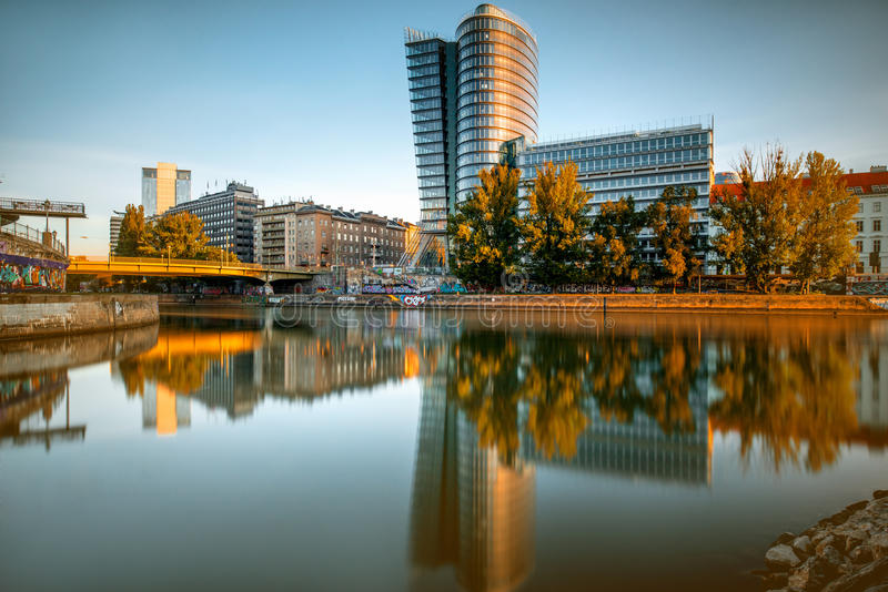 Modern Vienna cityscape stock images