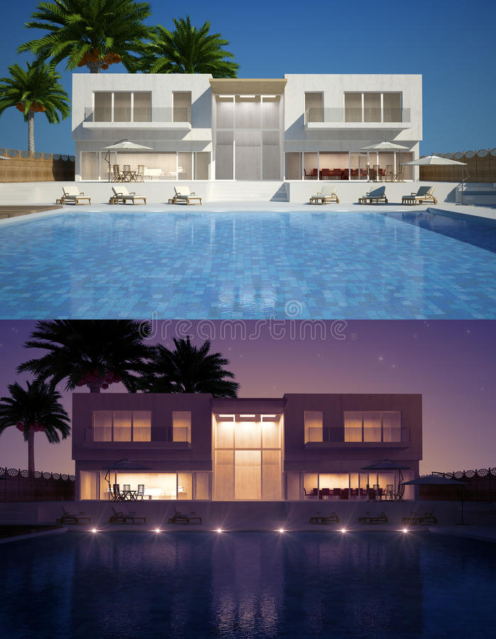 Free Modern Villa Day And Night View Stock Photo - 32618890