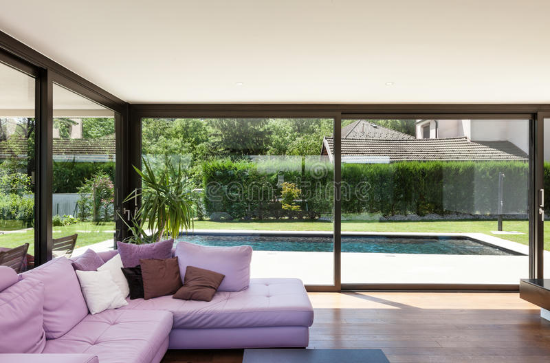 Modern villa, interior royalty free stock photos