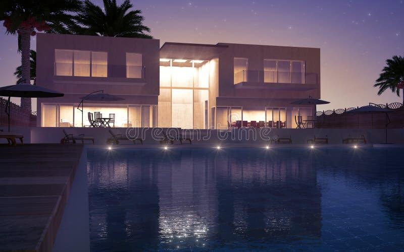 Modern villa night view royalty free illustration