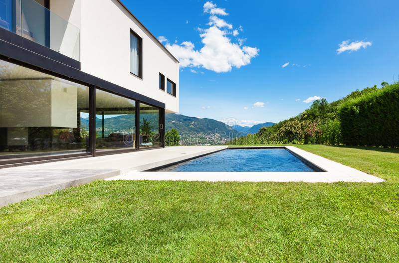 Modern villa. Outdoor, view from garden royalty free stock photo
