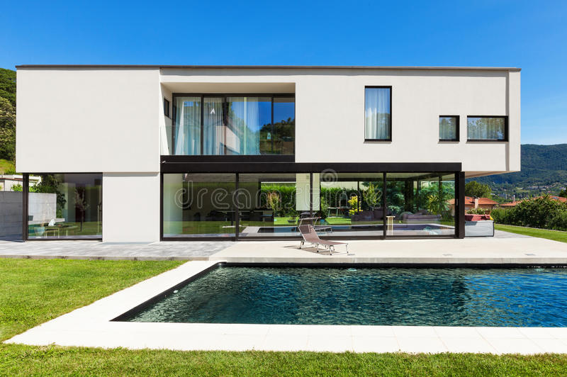 Modern villa with pool stock image