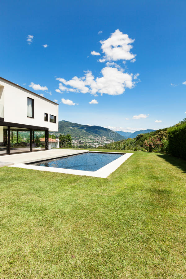 Download Modern villa with pool stock photo. Image of garden, exterior - 32425584