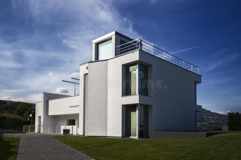 Modern villa. View from the garden stock photography