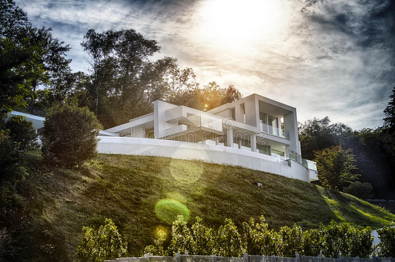 Modern villa. View from the garden royalty free stock image