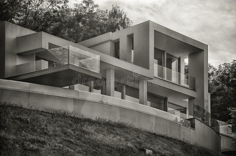Modern villa. View from the garden royalty free stock photo