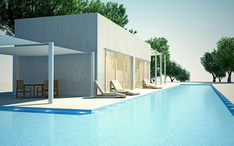 Modern villa with water pool vector illustration