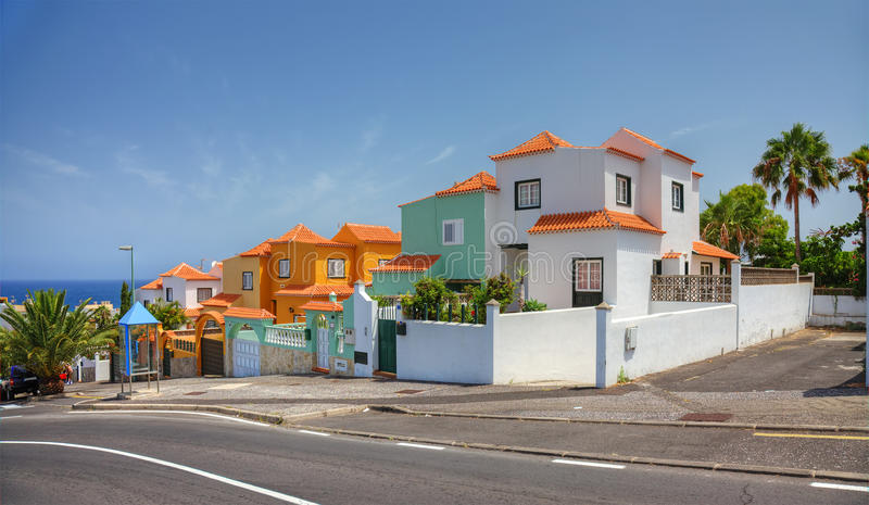 Spain spanish style real estate holiday villa villas house houses architecture Tenerife bungalow home residential building luxury royalty free stock image