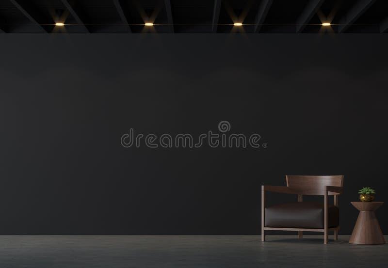 Modern vindvardagsrum med den svarta väggen med den bruna tolkningen för läder- och trämöblemang 3d avbildar royaltyfri illustrationer