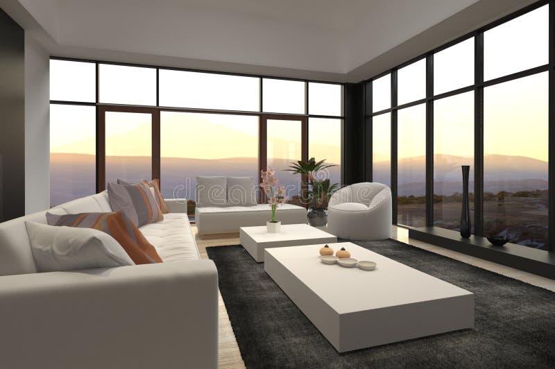 Modern vindvardagsrum med solnedgång-/soluppgångsikt royaltyfri fotografi