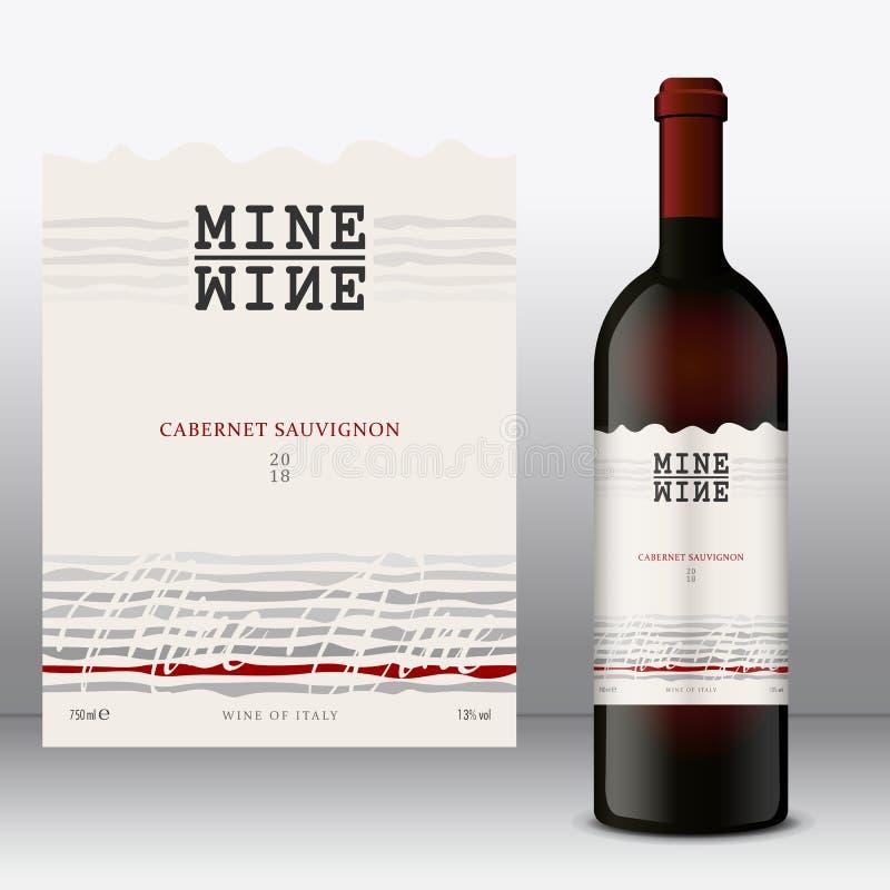 Modern vinetikett med flaskan Front Label royaltyfri illustrationer