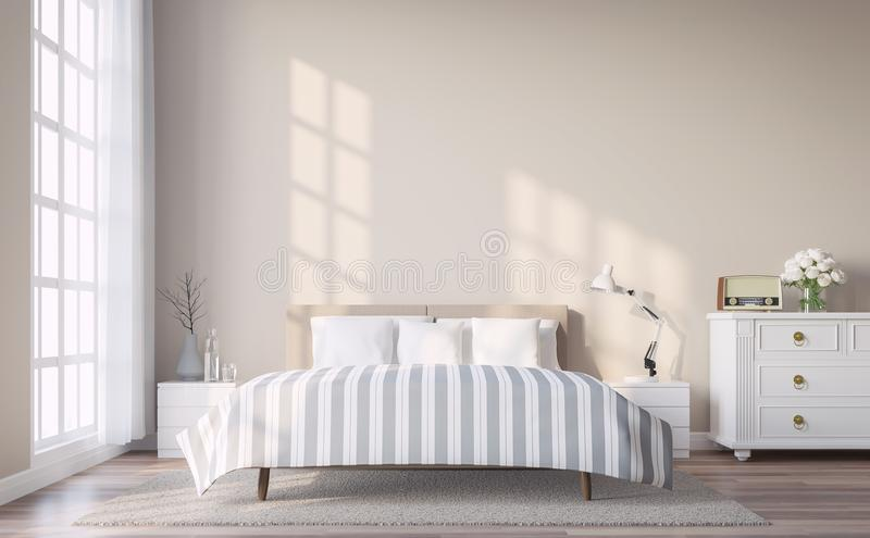 Modern vintage bedroom with light brown wall 3d render. The Rooms have wooden floors and light brown walls.Furnished with white and grey furniture. There are stock illustration