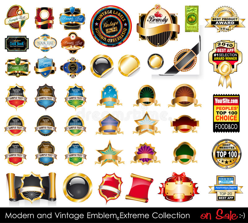 Modern and Vintage Emblems Extreme Collection. vector illustration