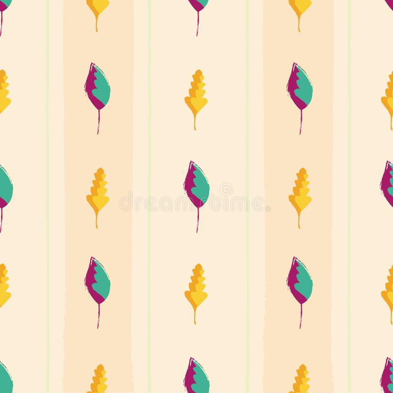 Modern vintage hand drawn mixture of gold and purple teal leaves. Seamless vector pattern on wide striped peach colored vector illustration