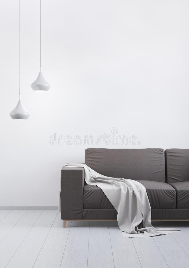 Modern vintage living room. Brown leather sofa on a grey wooden floor and light wall. 3D render. royalty free illustration