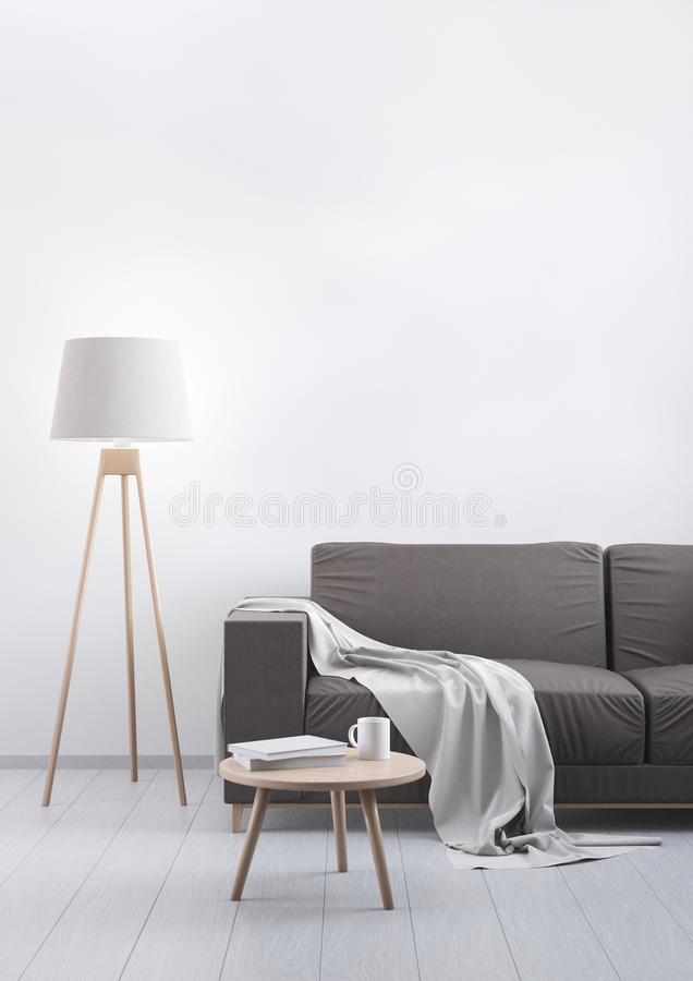Modern vintage living room. Brown leather sofa on a grey wooden floor and light wall. 3D render. stock illustration