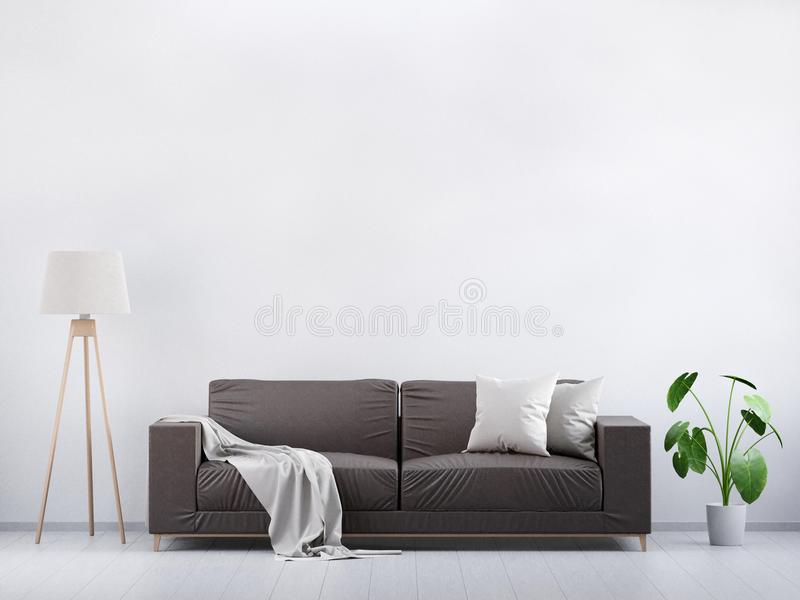 Modern vintage living room. Brown leather sofa on a grey wooden floor and light wall, 3D render vector illustration