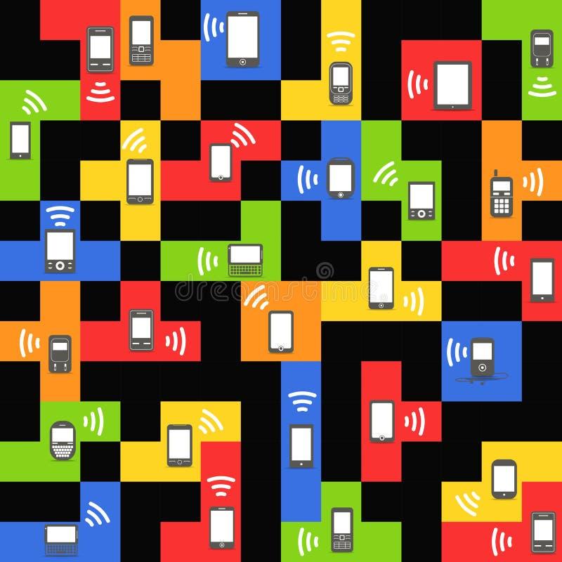 Download Modern And Vintage Mobile Gadgets On Color Blocks Stock Vector - Image: 27466411