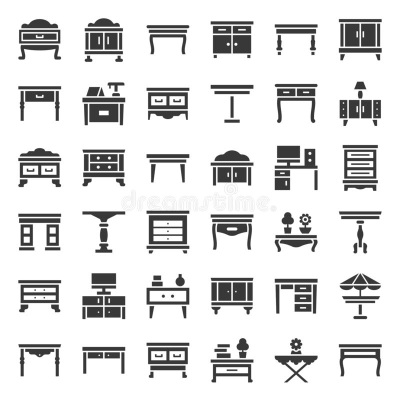 Modern and vintage table and desk, solid icon set. Modern and vintage table and desk, vector solid icon set royalty free illustration