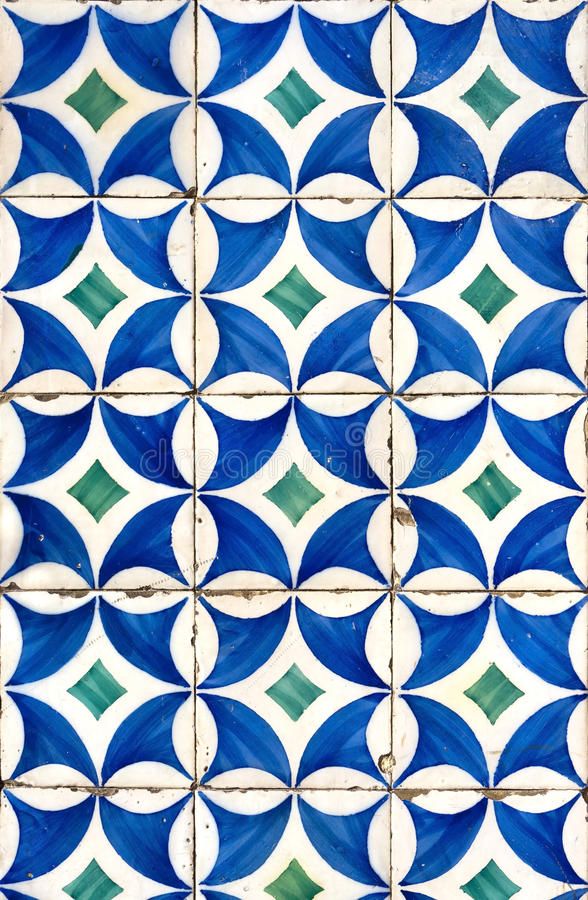 Modern Vintage Tiles. Was seen on a building wall in Lisbon, Portugal. Tiles for walls are an important tradition in Portugal. In Portugal the tiles are named royalty free stock image