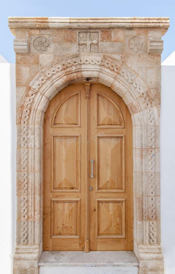 Modern vintage wooden oriental home decoration light brown rusty door royalty free stock photo