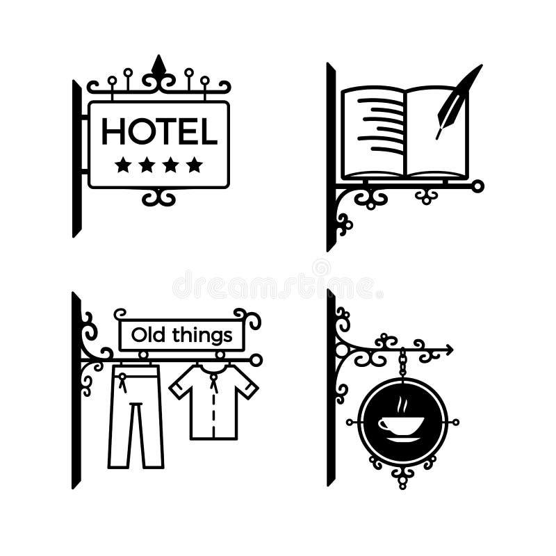 Vintage modern signboards, billboards. Signboard for hotel, library, shop, cafe stock illustration