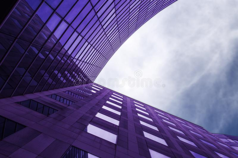 Modern violet building. Abstract shape view of a modern building located at La defense, Paris, France royalty free stock photography