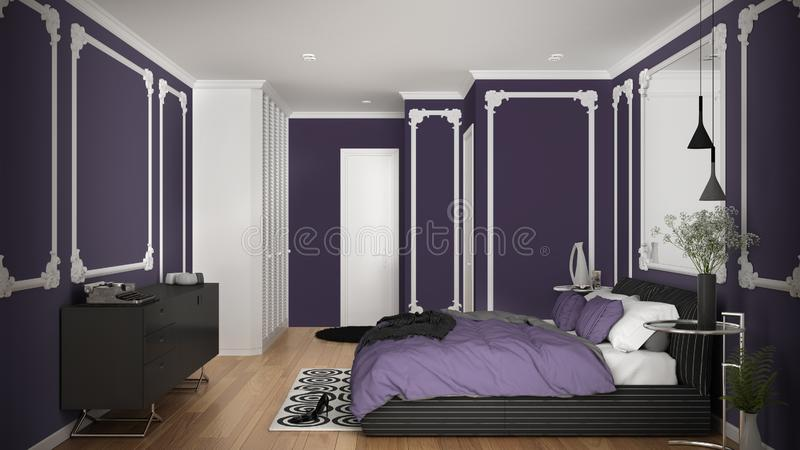 Modern violet colored bedroom in classic room with wall moldings, parquet, double bed with duvet and pillows, minimalist bedside. Tables, mirror and decors royalty free illustration