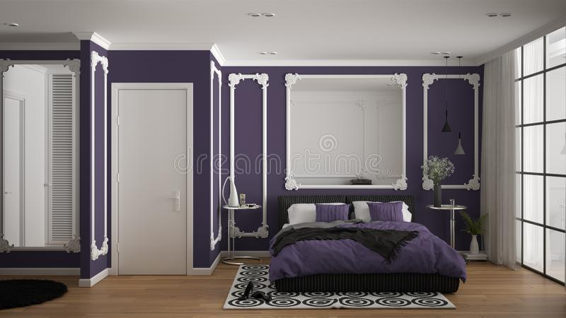 Modern violet colored bedroom in classic room with wall moldings, parquet, double bed with duvet and pillows, minimalist bedside. Tables, mirror and decors vector illustration