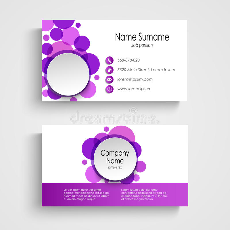 Modern Violet Round Business Card Template Stock Vector Image - Round business card template