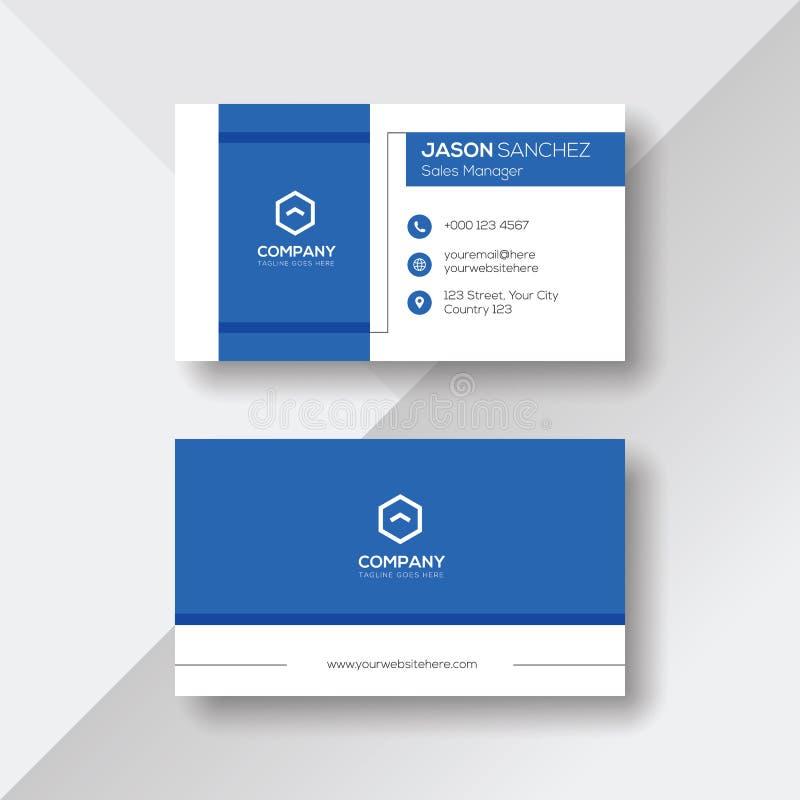 Modern Visitekaartje met Blauwe Details stock illustratie