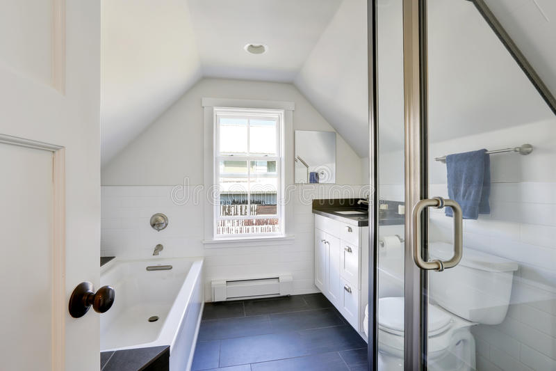 Modern vit badruminre i loften royaltyfri bild