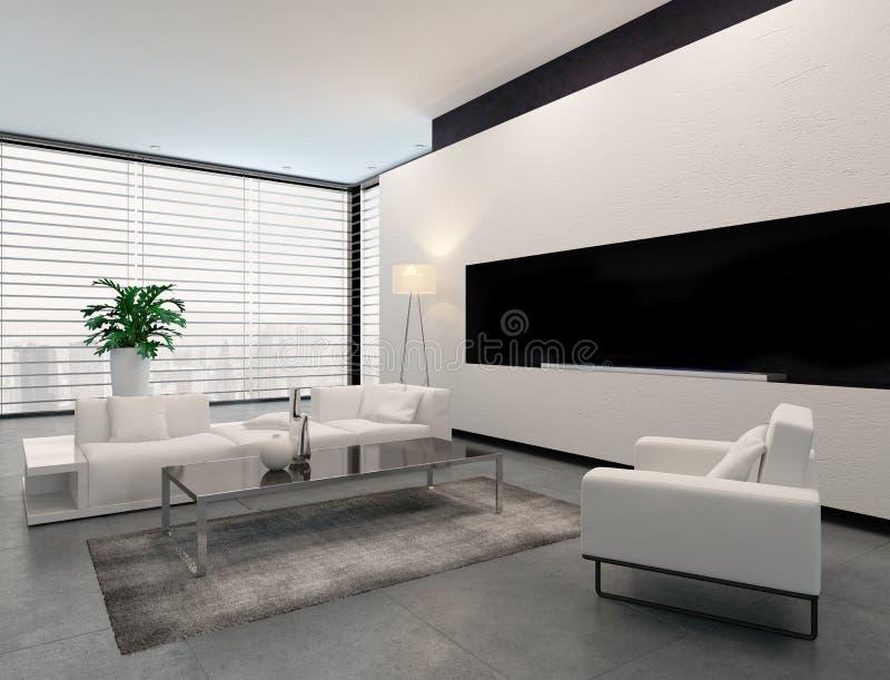 Modern vit-, grå färg- och svartvardagsruminre royaltyfri illustrationer