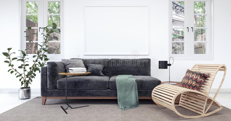 Modern vit inre med den svarta soffan arkivbild