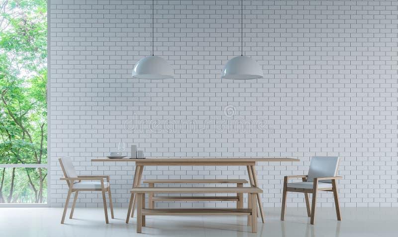 Modern vit matsal dekorerar väggen med bild för tolkning för tegelstenmodell 3d royaltyfri illustrationer